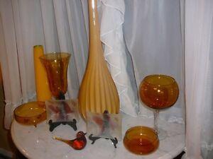 Superbe ensemble d'accessoires de décoration, verre Murano ambre