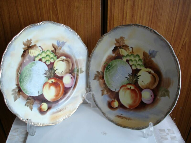 Pair of Vintage Japanese Hand Painted Fruit Plates,Artist Signed