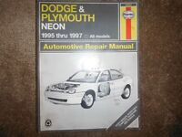 Dodge and Plymouth Neon Shop Manual 1995 1996 1997