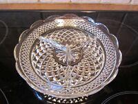 vintage  assiette en verre épais dentelé à 3 sections