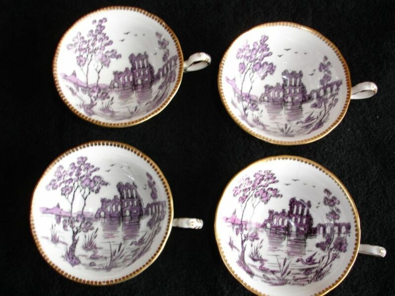 Four Royal Chelsea Bone China Cups Early 1900 S Dublin