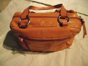 Orange leather purse