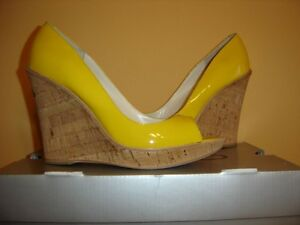 Patent Leather Yellow Cork ALDO Wedges