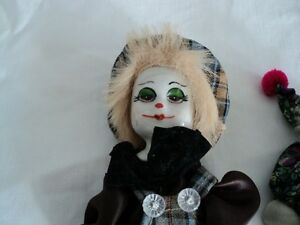 SMALL Porcelain Clown Collection 7 different clown figure left