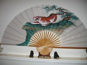 OIL ON SILK PAINTING FAN , THE TIGER .
