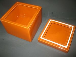 "BRAND NEW Large  Orange Porcelain Trinket Box 8"" X 8"" MINT Windsor Region Ontario image 2"
