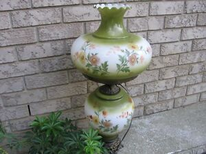 HAND PAINTED  LARGE VINTAGE LAMP ..
