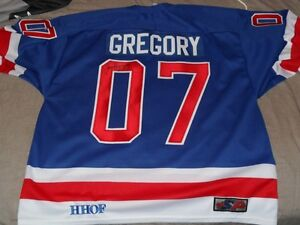 2007 NHL HHOF Induct Jersey Jim Gregory Signed + Bobblehead Bat