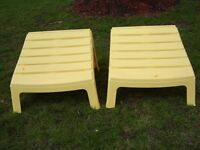 2 YELLOW STOOLS FOR PLASTIC MUSKOKA CHAIRS/PATIO FURNITURE