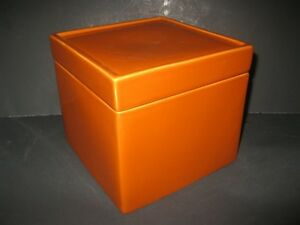 "BRAND NEW Large  Orange Porcelain Trinket Box 8"" X 8"" MINT"