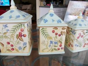 Hand Painted Ceramic Cannister Set