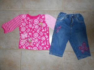 6 Months Girls Long Sleeve Shirt and Jeans