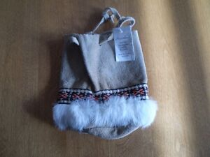 NATIVE SUEDE AND RABBIT TRIMMED POUCH