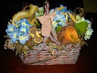 BASKET OF HYDRANGEAS AND OTHER FLORALS