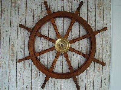 "36"" Wood / Brass Ships Wheel ~ Nautical Maritime ~ Wooden Pirate Captain"