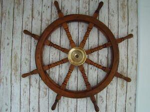 36-Wood-Brass-Ships-Wheel-Wooden-Pirate-Captain