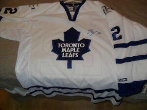 Maple Leafs Signed Jersey Ken Klee + Blue Jays Bobblehead