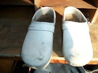 wooden shoes with leather tops