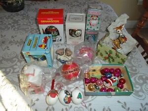 Several Different Christmas Ornaments and Christmas Collectibles