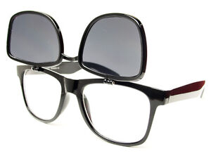 Flip Up Clear Lens Wayfarer Sunglasses Shades in Black W231