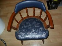 Uniq. Maple Leafs Hot Stove Lounge Seat Chair Signed  Hockey COA