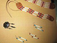 Bracelet Ceinture style amérindien fait main, en os et perle