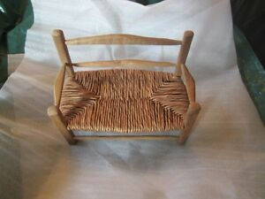 "barbie doll furniture wicker and wood bench 12"" dolls"