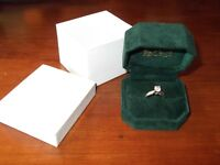 Ladies size 5 white gold engagment and wedding band set