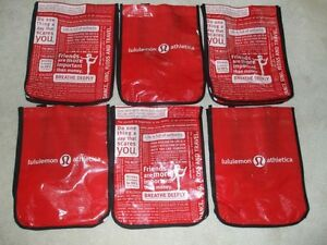 6 LULULEMON ATHLETICA SHOPPERS WORKOUT LUNCH SMALL TOTE BAGS NEW