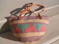 Retro jute leather handle beach  shopping tote bag purse