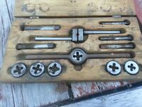 antique tap and die set (Star) in wood box