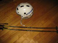 Kids ski poles, helmet / Casque ski enfants & Batons (100cm)