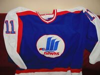 1987-1988 AHL #11 Guy Larose Moncton Hawks Game Worn Jersey