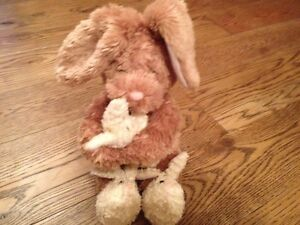 RABBIT SMALL BABY & LARGE MUM soft toy IN BUNNY SLIPPERS--TESCO 06 EASTER-RARE