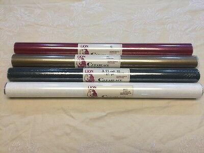 "FLORIST FILM LOT-4 ROLLS LION CLEARLACE-20""x50'/ROLL-4 COLOR~RED~GOLD~MOSS~WHITE"