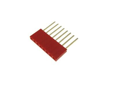 8 Pins 8p 2.54mm 0.1 Female Header Long Pin 11mm - Red - Pack Of 10