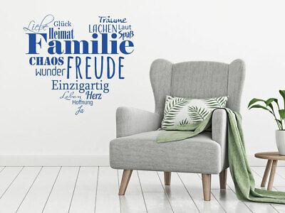 Wandtattoo Familie als Herz Wand Deko Wohnzimmer Familienregeln Wandaufkleber