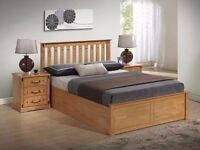 ??Cheapest Price Ever??Pine Wood?? New Malmo Oak Finish Wooden Ottoman Storage Bed Double/ King Size