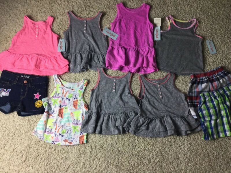 Lot Of 10 Cat And Jack Tops Dress Shorts Size 2t Nwts