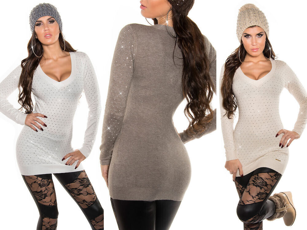Pullover donna manica lunga maglione maxipull strass borchiati moda casual NUOVO