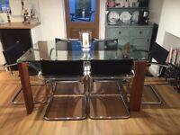DWELL glass and walnut cyclical dining table seats 6 normal RRP £399 Bargain!