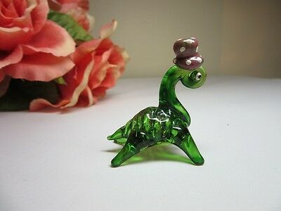 Vtg hand blown art glass mini figurine menagerie Turtle with hat. Green
