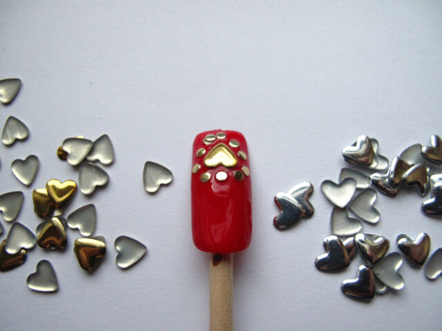 Nail Art 250 Pieces Gold & Silver 5mm HEART Metal Studs for Nails WS