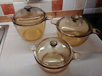 Glass Ceramic Saucepan Visions  Cookpot Set Pyrex Lids