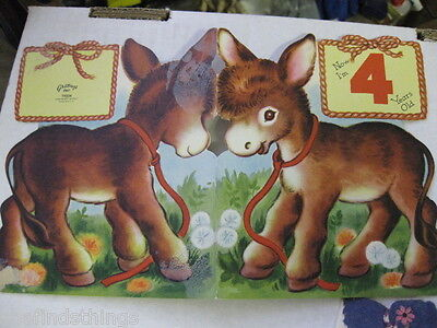 Vintage Used Greeting Card Birthday 4 Yr Diecut Donkey T9304 1952 two sided on Rummage