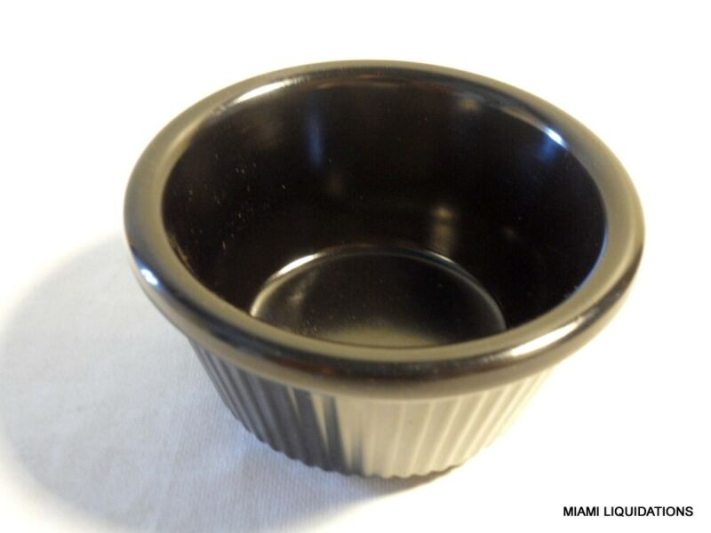 Lot of 48 3oz fluted Ramekin Carlisle S282-03 Black heavy weight melamine