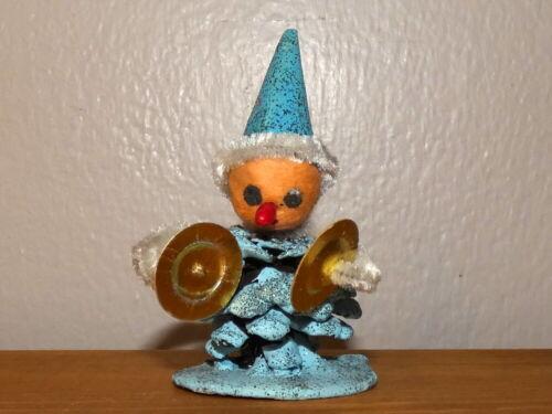 Vintage Christmas Putz Spun Cotton Blue Pinecone Elf with Top Hat Japan