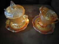 Pair of Carnival Glass Cream & Sugar Dishes