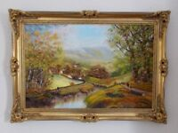 Large Original Oil Painting on canvas in ornate gilt style good quality frame. Signed - Hilda Wraw