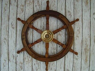 "24"" Wood / Brass Ship Steering Wheel ~ Nautical Decor ~ Pirate Captain Decor"